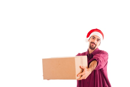 Young Man with Christmas Hat Holding a Box photo