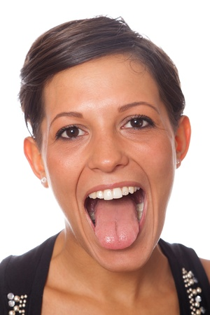 girl tongue: Young Girl with Tongue Out Stock Photo