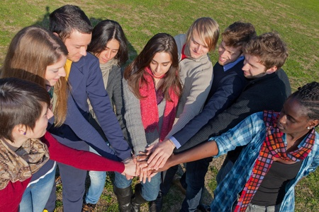 integrated group: Happy College Students with Hands on Stack