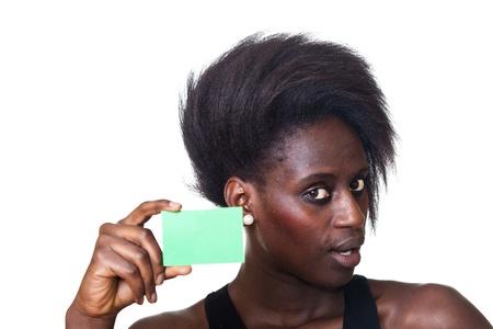 blanck: Beautiful Black Woman Showing Blanck Billboard Stock Photo