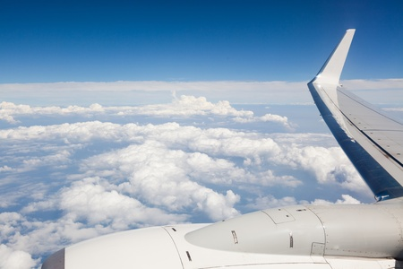 aircraft engine: Airplane Wing view from Window during Flight Stock Photo