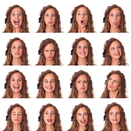 grimacing: Beautiful Young Woman Collection of Expression Stock Photo