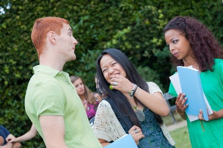 students talking: Multicultural Group of College Students Stock Photo