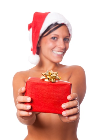 Sexy Topless Woman with Santa Hat and Christmas Gifts photo