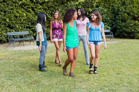 Teenage Girls Walking at Park Stock Photo - 10803353