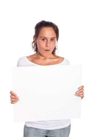 female tongue: Young Girl Holding Blank Billboard Stock Photo