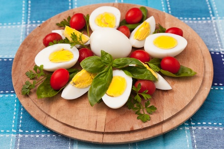 Boiled Eggs on Cutting Board photo