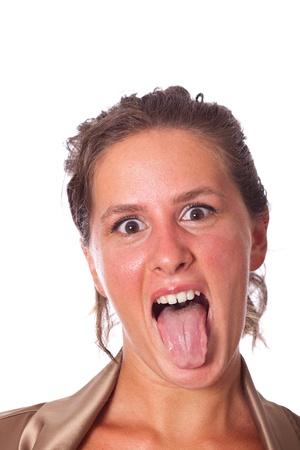 female tongue: Beautiful Young Woman Portrait Stock Photo