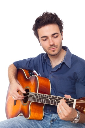 acoustic: Young Man Playing Guitar Stock Photo
