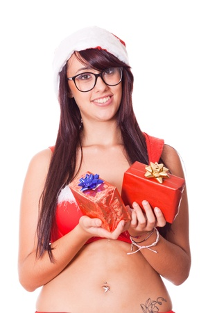 red bra: Sexy Woman with Santa Hat and Red Bra