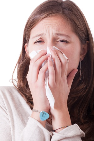 Sick Woman Blowing Her Nose Stock Photo - 11253135