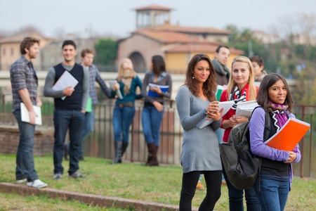 Multicultural College Students at Park Stock Photo - 11587771