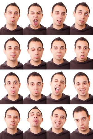 Man Portrait, Collection of Expressions Stock Photo - 11408283