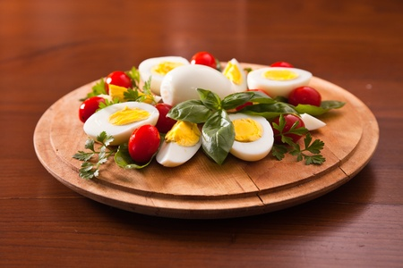Boiled Eggs on Cutting Board photo