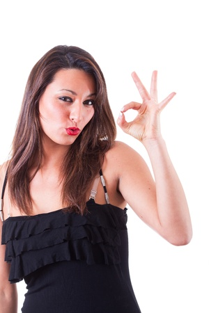 female tongue: Woman Showing Ok Sign