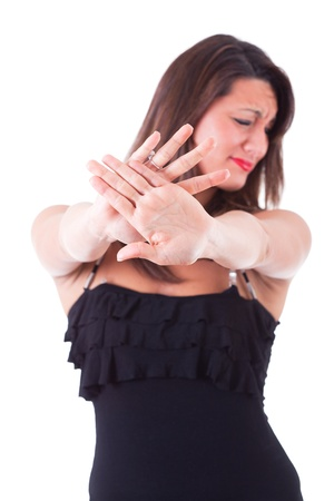 disgust: Woman Showing Open Hand, Stop Sign Stock Photo