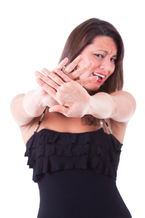woman stop: Woman Showing Open Hand, Stop Sign Stock Photo
