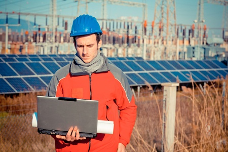 work station: Engineer at Work In a Solar Power Station