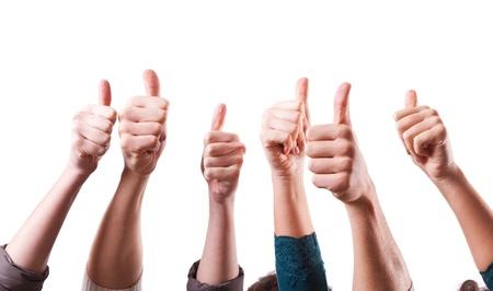 control de calidad: Thumbs Up en el fondo blanco Foto de archivo