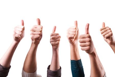 bondad: Thumbs Up en el fondo blanco Foto de archivo