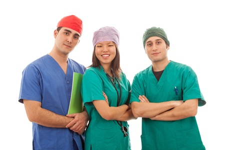 Multicultural Group of Doctors on White photo