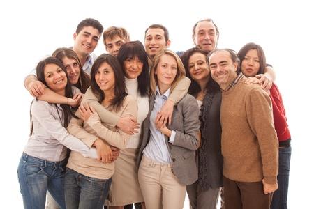 familia abrazo: Gran grupo de personas, Big Family Foto de archivo