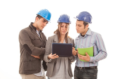 Engineers or Architects with Helmet on White Background Stock Photo - 12120962