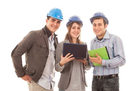 Engineers or Architects with Helmet on White Background Stock Photo - 12120964