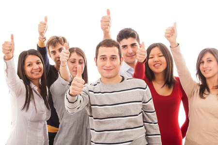 Happy Multiracial Group with Thumbs Up photo
