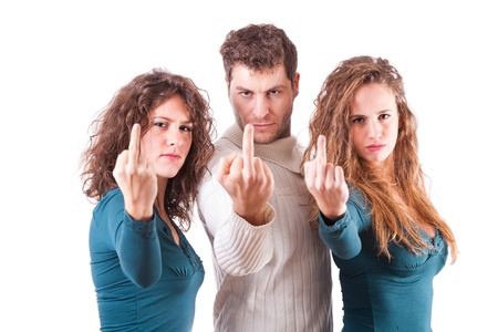 fuck: Three Friends Showing Middle Finger Stock Photo
