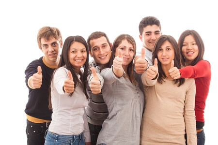 Happy Multiracial Group with Thumbs Up Stock Photo - 12375343