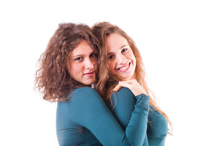 lesbian girls: Two Beautiful Female Friends Together Stock Photo