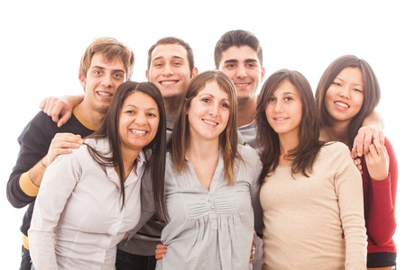 Young Multiracial Group on White Background Stock Photo