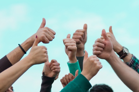 College Students with Thumbs Up photo