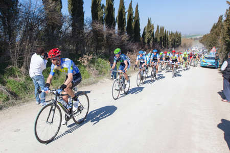 SIENA, ITALY - MARCH 03: Group of Cyclists during the 2012 Edition of Strade Bianche, bicycle race across tuscan hills, in March 03, 2012 in Siena, Italy Stock Photo - 12513354