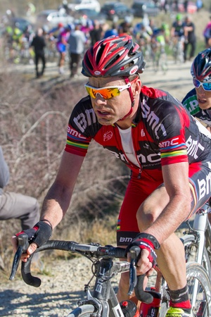 evans: SIENA, ITALY - MARCH 03: Cadel Evans during the 2012 Edition of Strade Bianche, bicycle race across tuscan hills, in March 03, 2012 in Siena, Italy