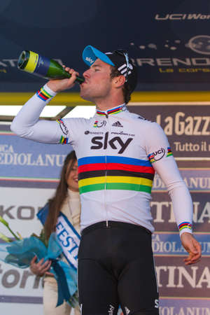 INDICATORE, AREZZO, ITALY - MARCH 08: Mark Cavendish on the podium after winning the 2nd stage of 2012 Tirreno-Adriatico on March 08, 2012 in Indicatore, Arezzo, Italy Stock Photo - 12572727