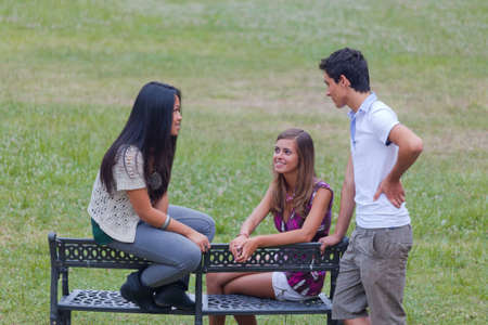 Group of Teenagers Talking at Park photo