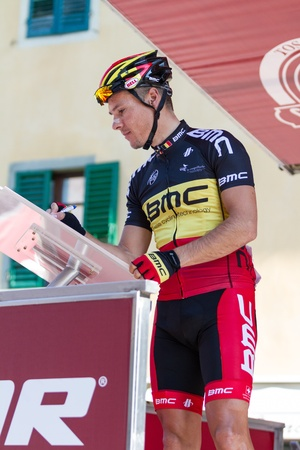 SIENA, ITALY - MARCH 03: Philippe Gilbert before the 2012 Edition of Strade Bianche, bicycle race across tuscan hills, in March 03, 2012 in Siena, Italy Stock Photo - 12690575