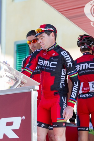 evans: SIENA, ITALY - MARCH 03: Cadel Evans before the 2012 Edition of Strade Bianche, bicycle race across tuscan hills, in March 03, 2012 in Siena, Italy Editorial