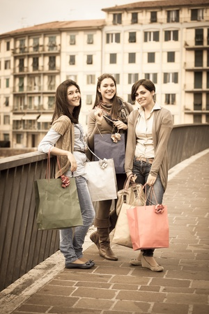 Three Beautiful Young Women with Shopping Bags Stock Photo - 12931725