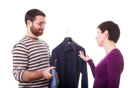 Couple Choosing the Shirt to Dress photo