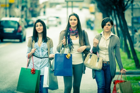 Three Beautiful Young Women doing Shopping Stock Photo - 13065561