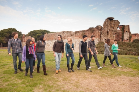 Multicultural Group of People Walking Together Stock Photo - 13090613