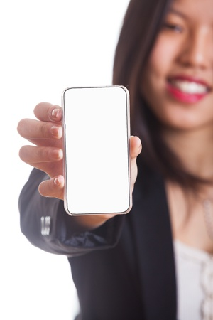 Young Chinese Woman Showing a Smartphone photo