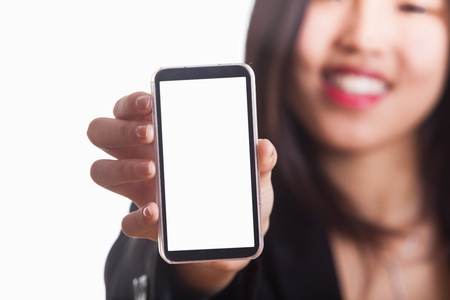 Young Chinese Woman Showing a Smartphone Stock Photo - 13283345