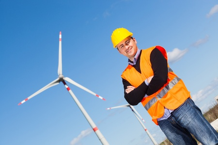 Technician Engineer in Wind Turbine Power Generator Station photo