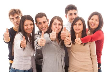 multiracial group: Grupo multirracial feliz con los pulgares arriba