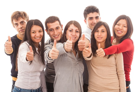 diverse hands: Happy Multiracial Group with Thumbs Up