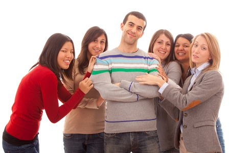 playboy: Young Handsome Man with Many Girls Around Stock Photo
